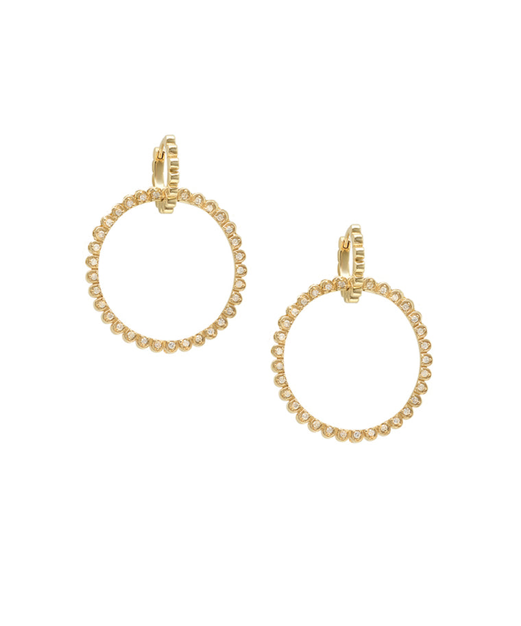 Diamond Daisy Circle Earrings - Lesley Ann Jewels