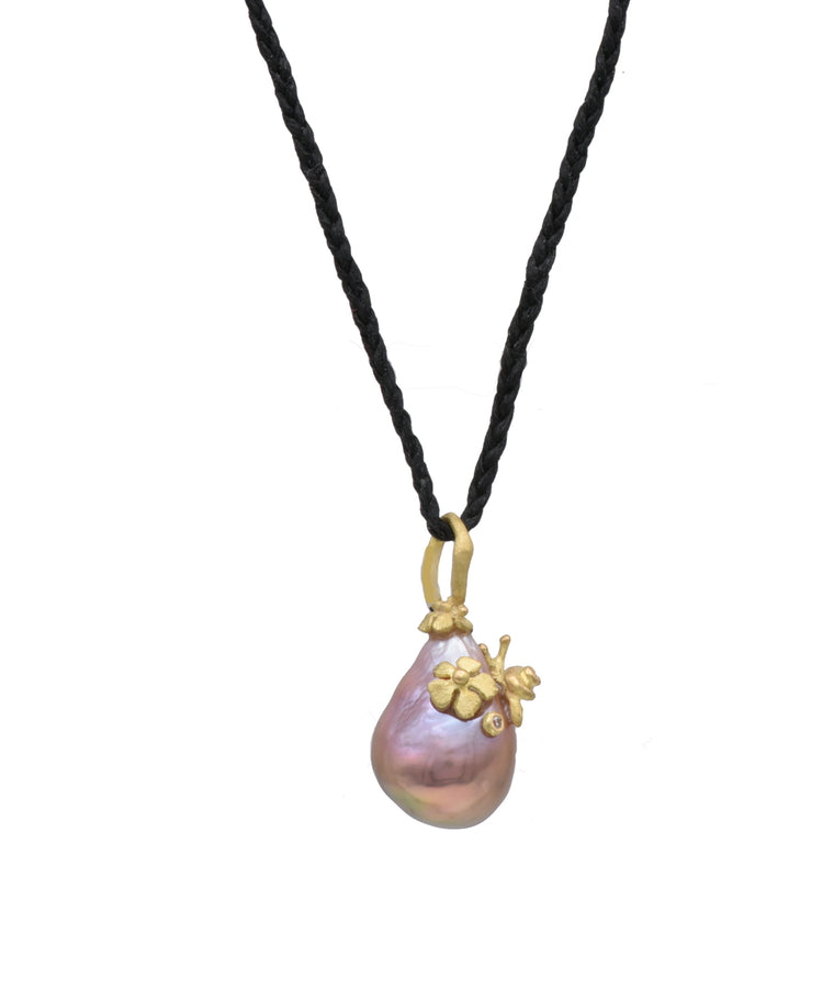 Pink Tahitian Pearl Pendant with Snail