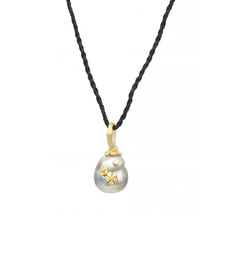 Light Gray Tahitian Pearl Pendant - Lesley Ann Jewels