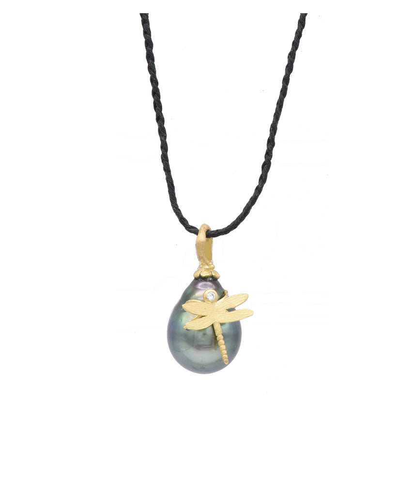 Tahitian Pearl Drop with Dragonfly - Lesley Ann Jewels