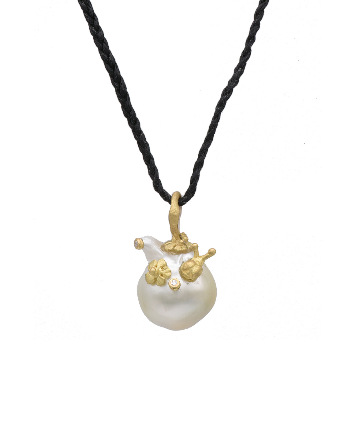 Baroque Pearl Pendant with Snail - Lesley Ann Jewels