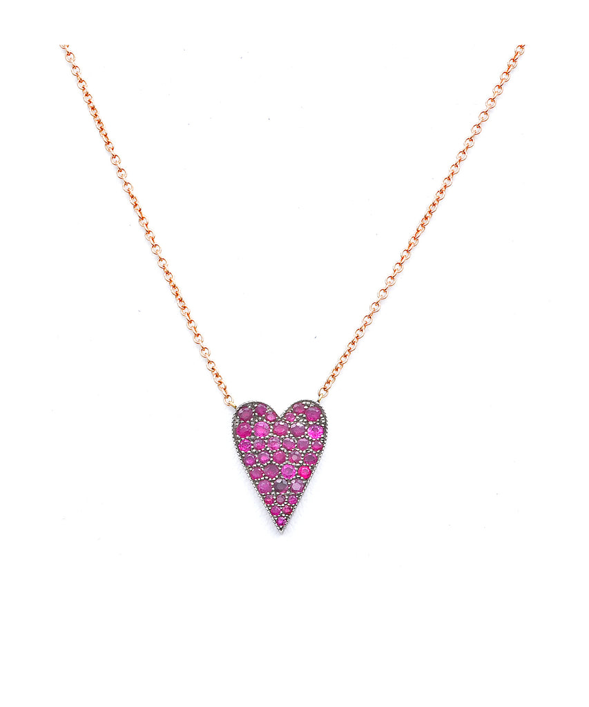 Small Ten Table Ruby Heart Necklace - Lesley Ann Jewels