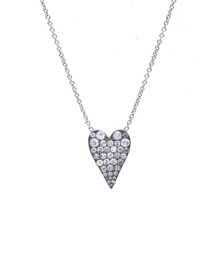 Grey diamond heart pendant