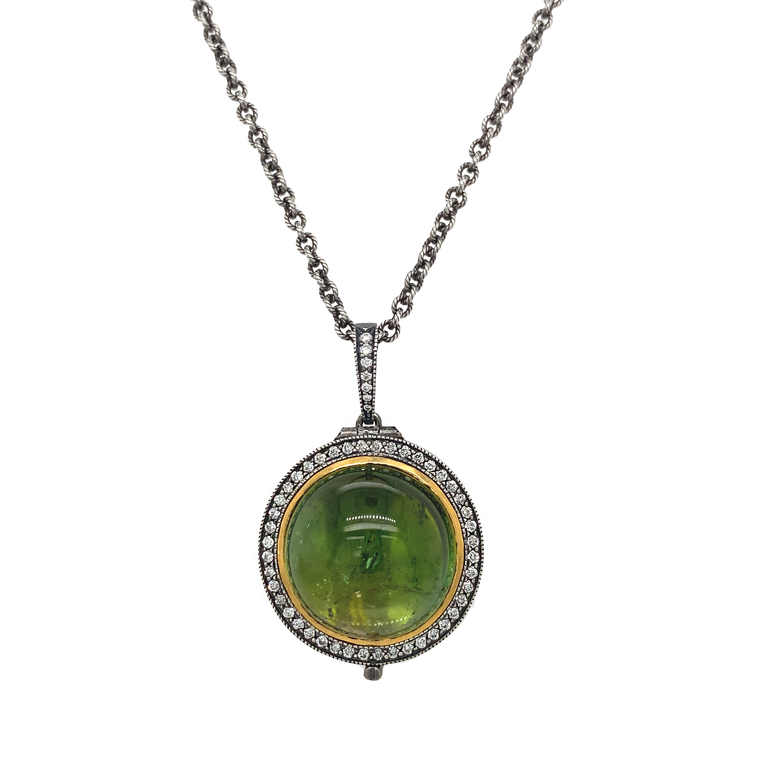 Tourmaline Locket Necklace - Lesley Ann Jewels