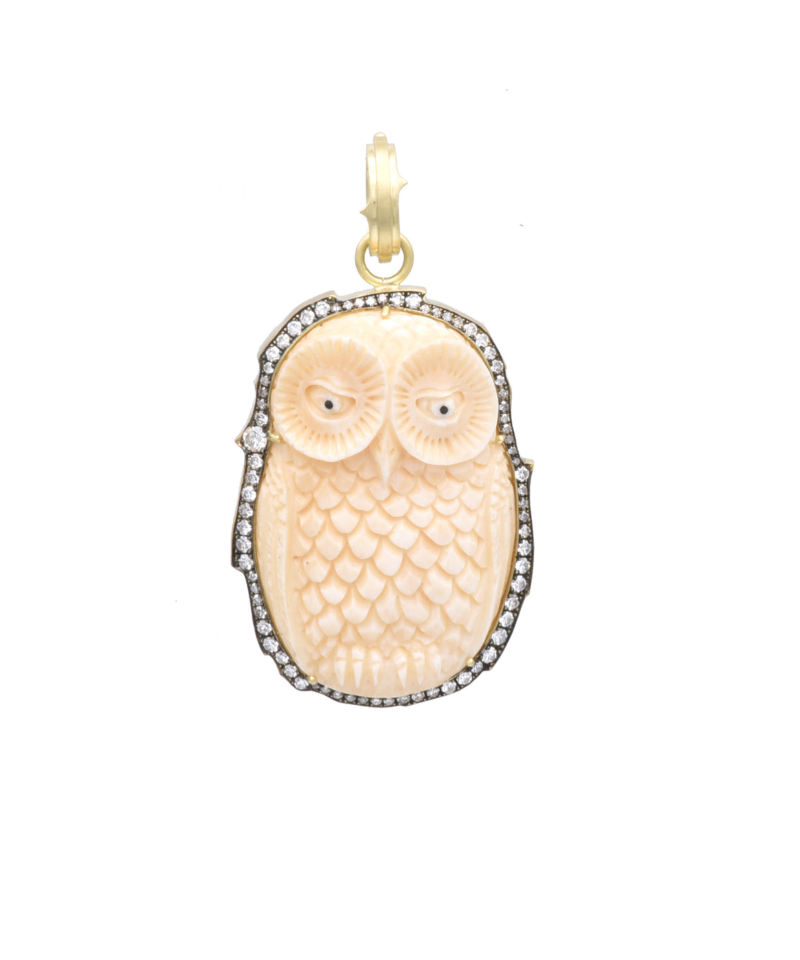 Carved Bone Owl Pendant