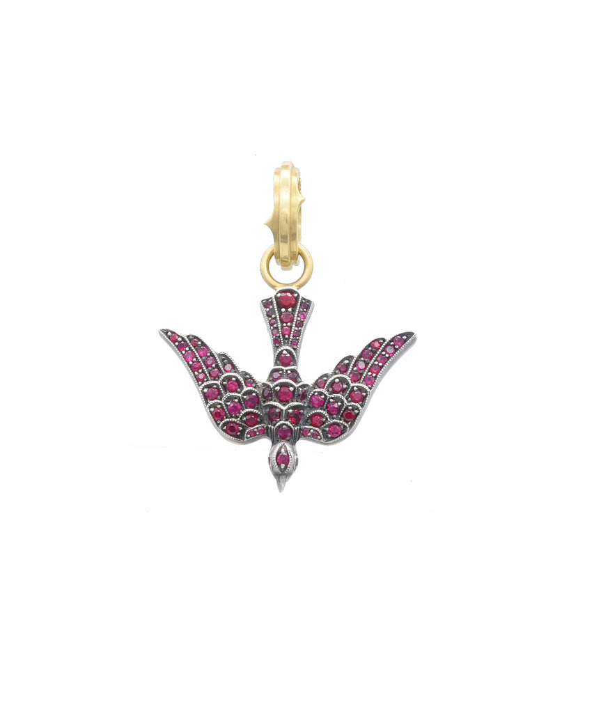 Reversible Ruby Swallow Pendant - Lesley Ann Jewels
