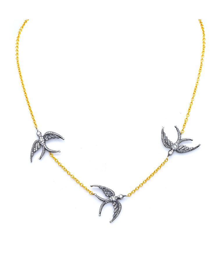 Triple swallow necklace