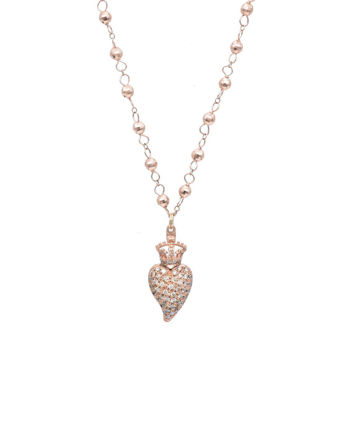 "Designed by Devon Page McCleary, this charming heart necklace is crafted in 18k rose gold. The pavé diamond heart is 1 1/8"" tall and hangs from a 16"" beaded chain."