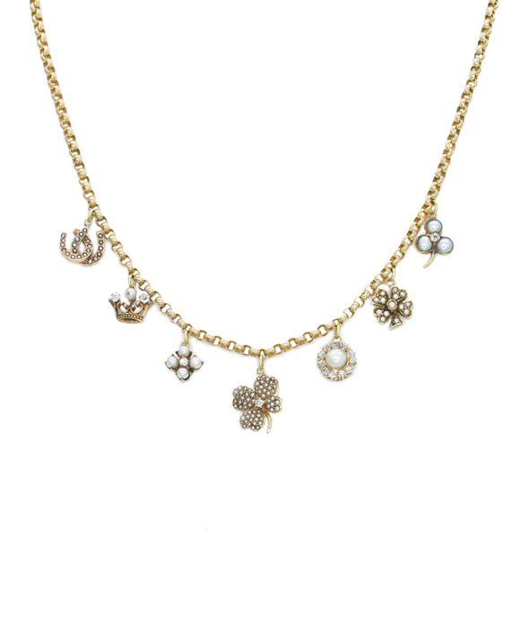Vintage pearl charm necklace - Lesley Ann Jewels