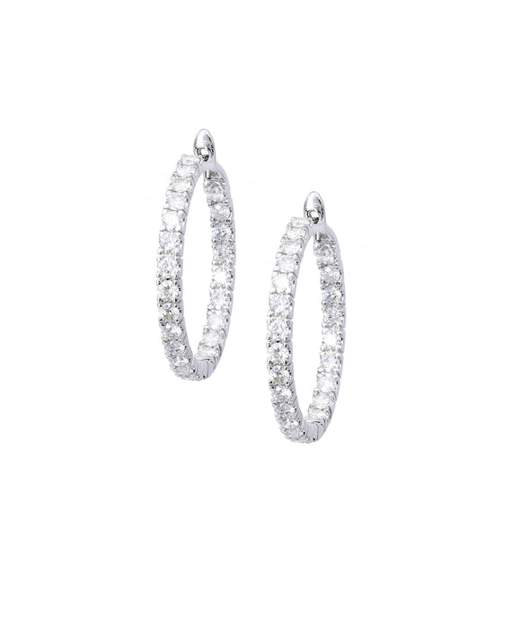 Round Hoop Earrings with Diamonds - Lesley Ann Jewels