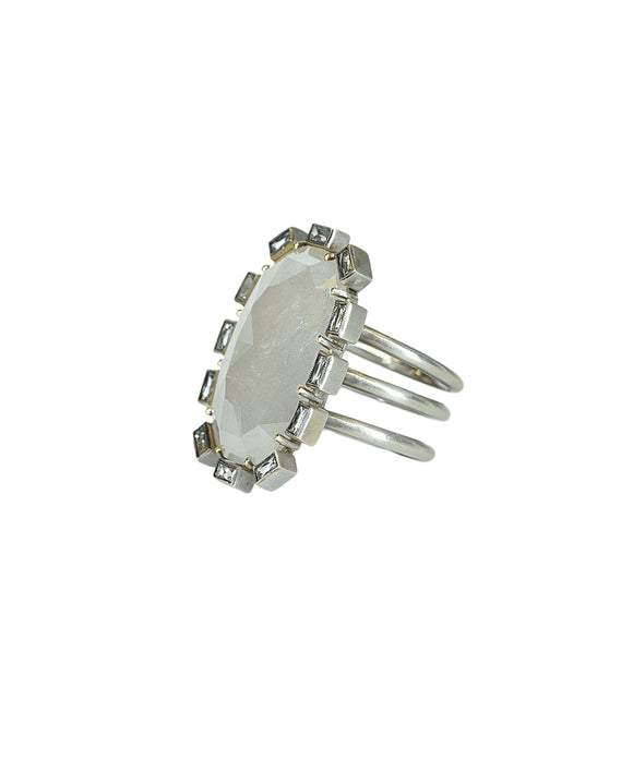 Grey rough diamond petal ring