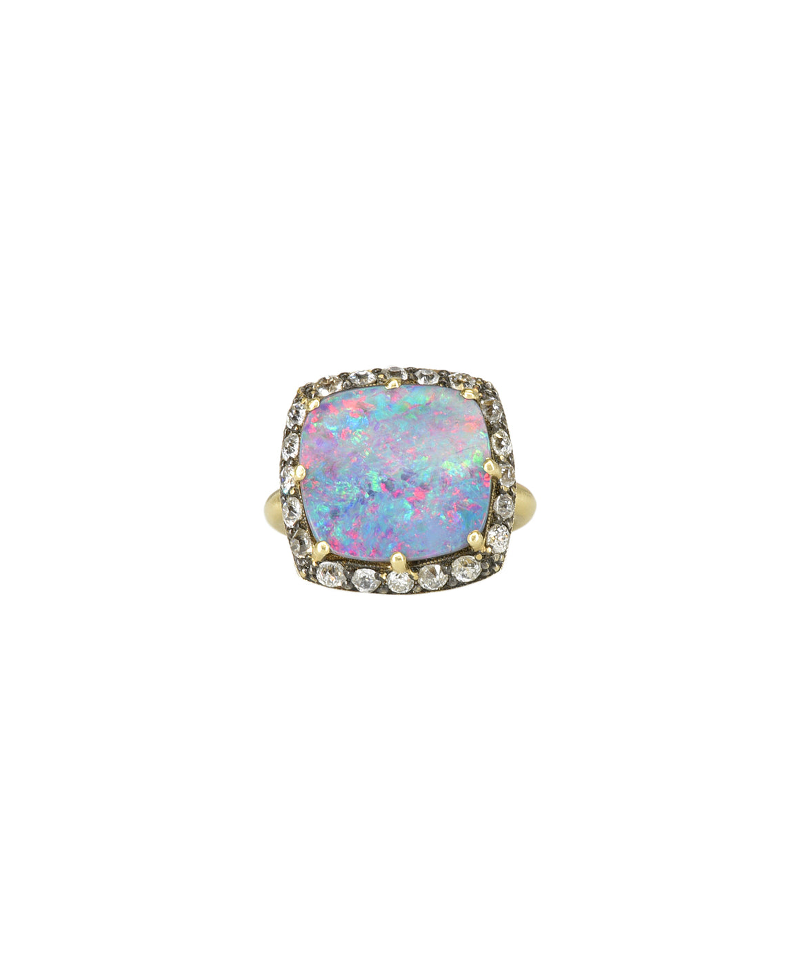 Opal ring with Old European cut diamonds