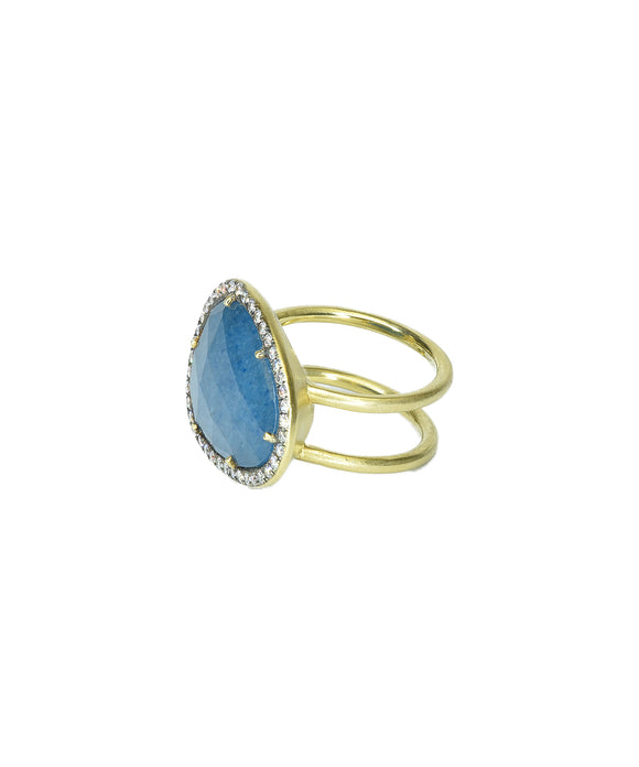 Double shank blue quartz ring