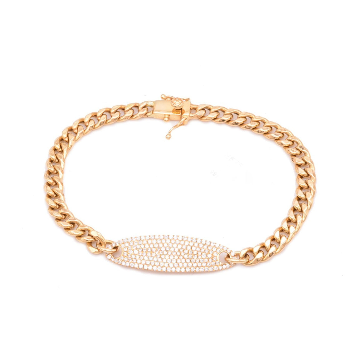 Diamond oval ID bracelet - Lesley Ann Jewels