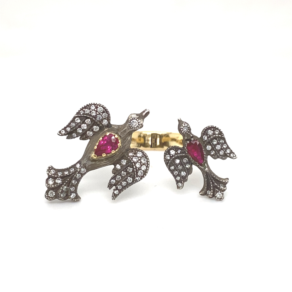 Ruby Mother And Child Bird Ring - Lesley Ann Jewels