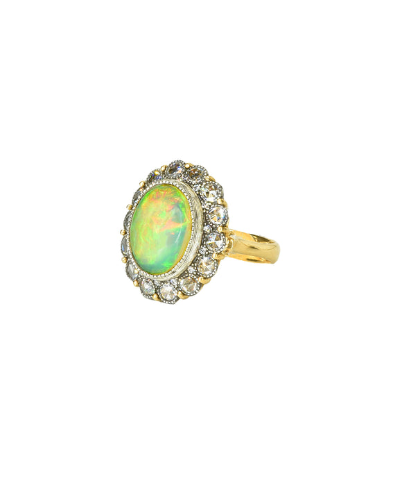 Opal ring with rose-cut diamonds