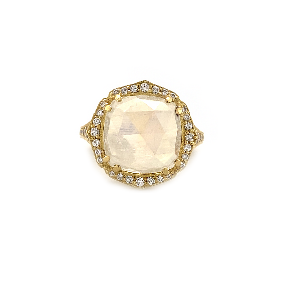 Diamond and Cushion Cut Moonstone Ring - Lesley Ann Jewels
