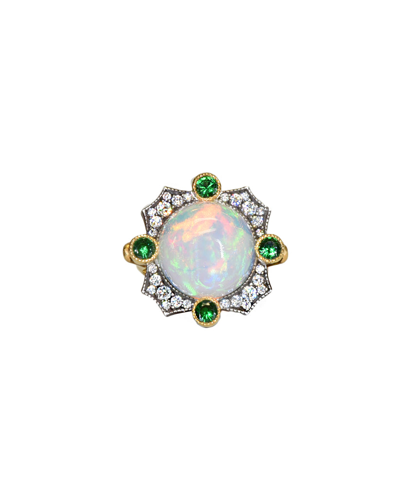 Opal and Tsavorite Ring