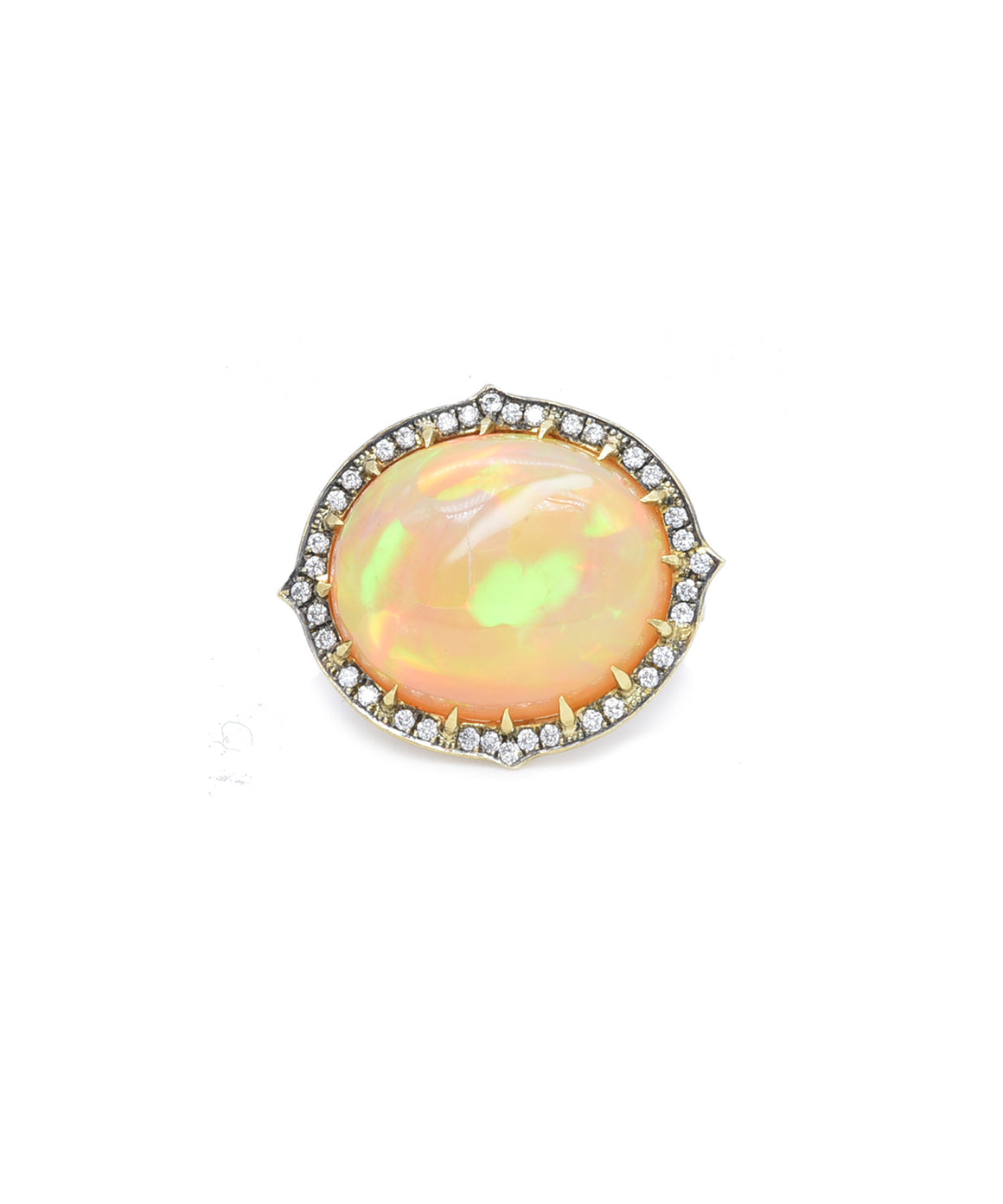 "You'll be mesmerized by the flashes of color in this exciting ring. The oval Ethiopian opal weighs 11.07 carats. The 18k yellow gold mounting is also set with sparkling brilliant diamonds totaling .30 carat. The front of the ring isn 1"" wide and the ring itself is size 6."