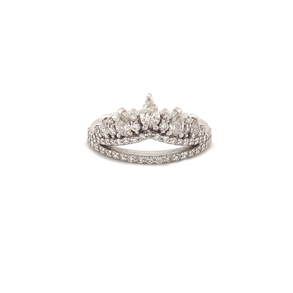 Diamond Cluster Double Banded Ring - Lesley Ann Jewels