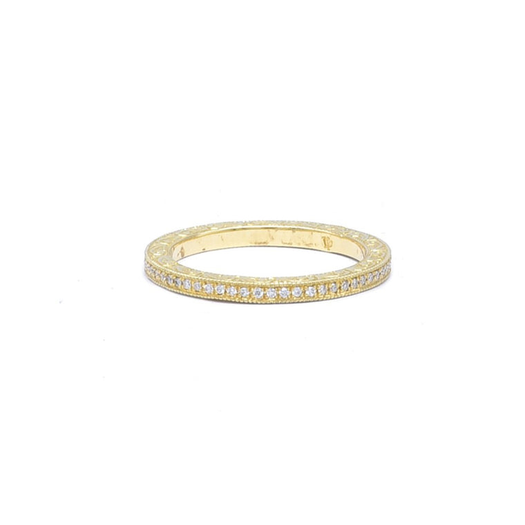Pave Band with Engraved Sides - Lesley Ann Jewels