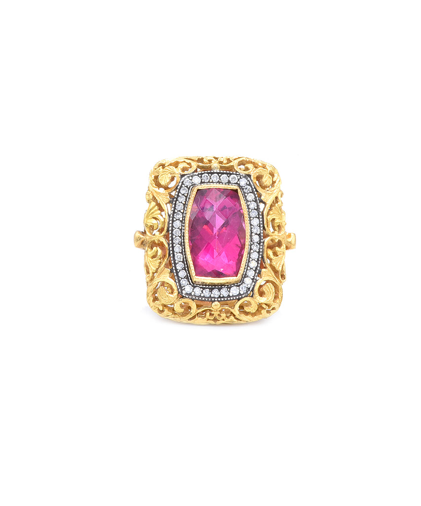 Lace ring with pink tourmaline