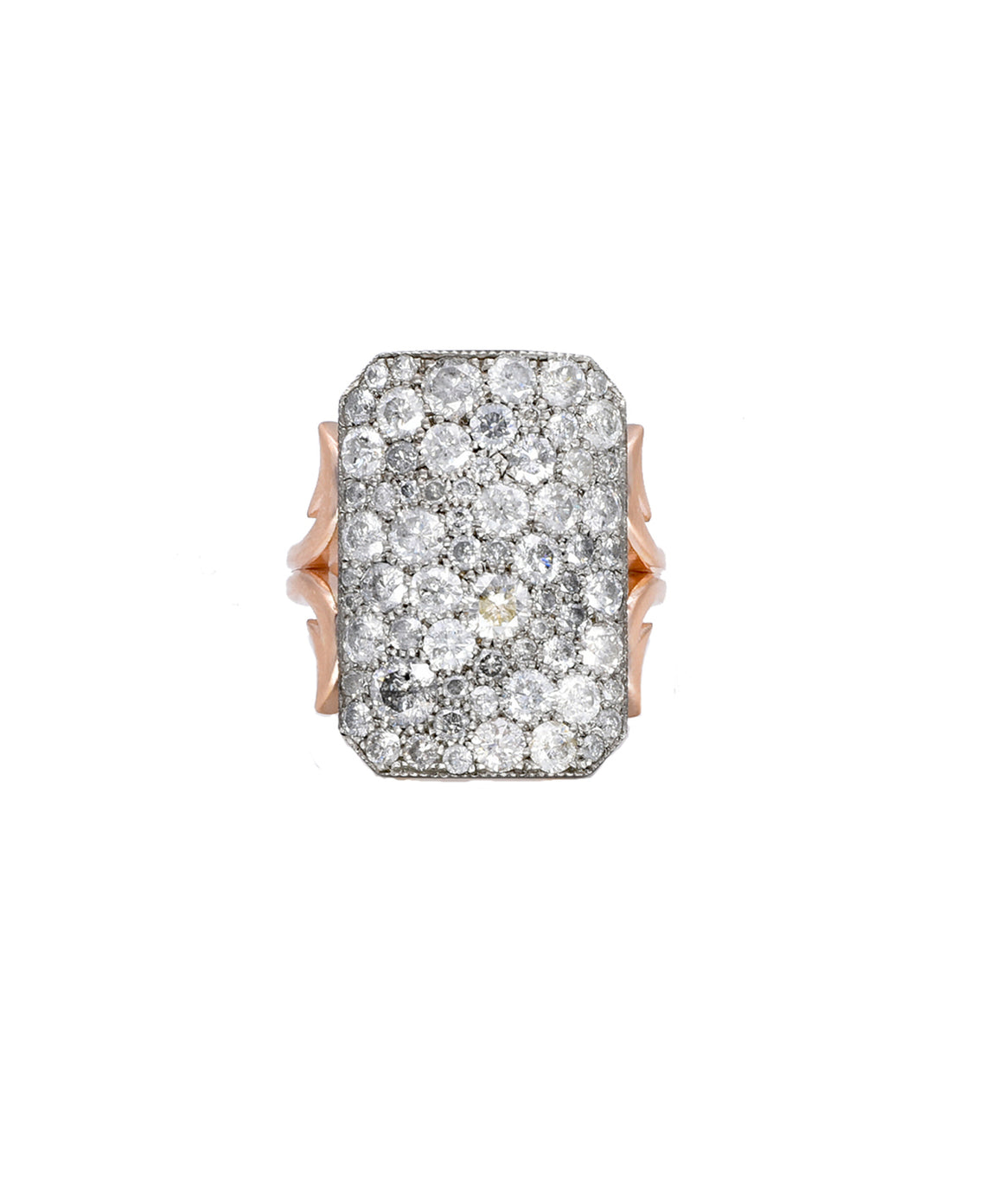 Grey Diamond Short Ten Table Ring in Rose Gold