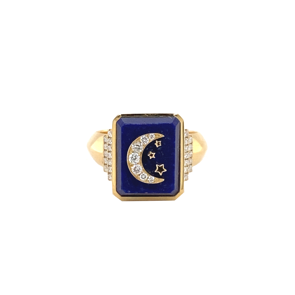 Crescent & Stars Signet Ring - Lesley Ann Jewels