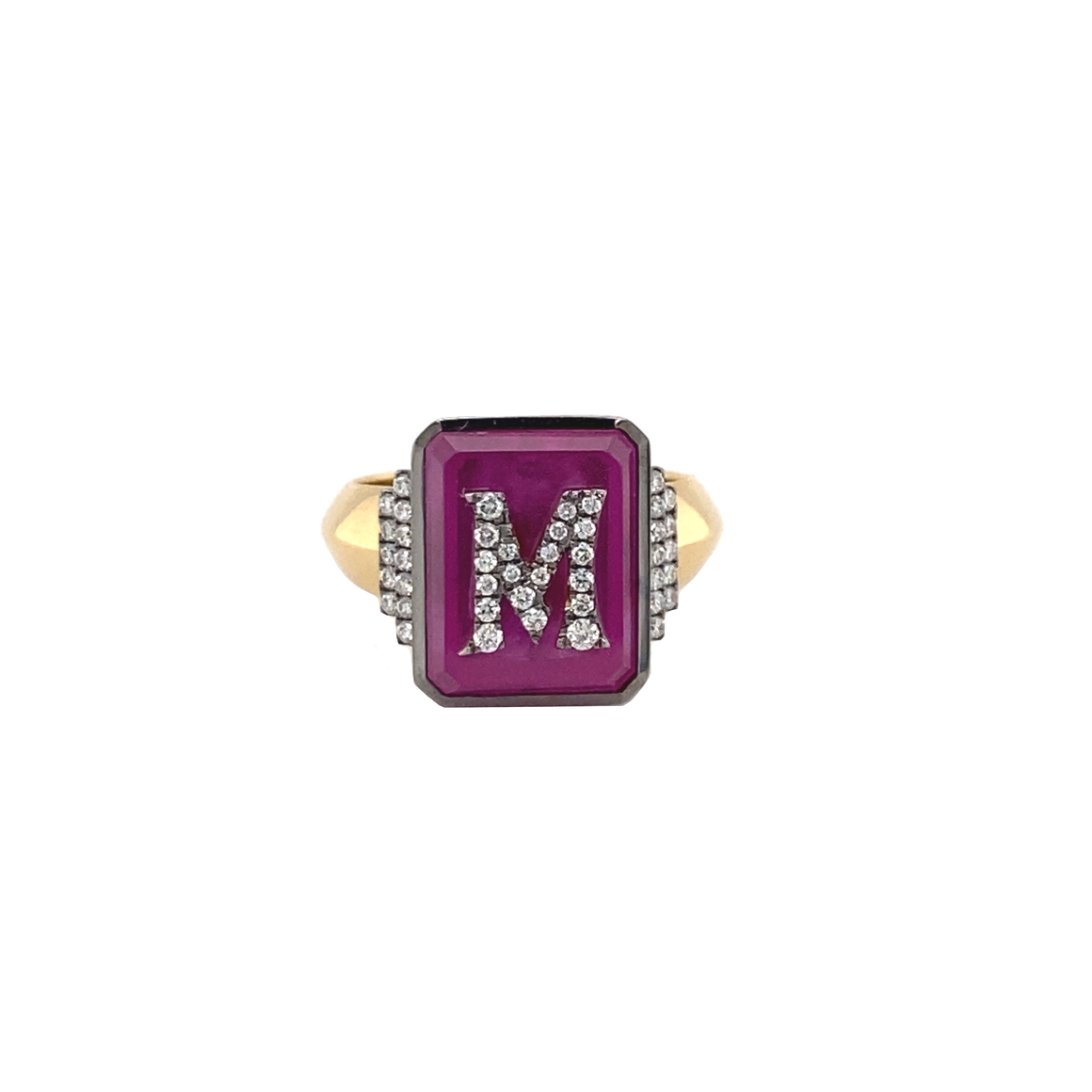 Pink Topaz Signet Ring - Lesley Ann Jewels