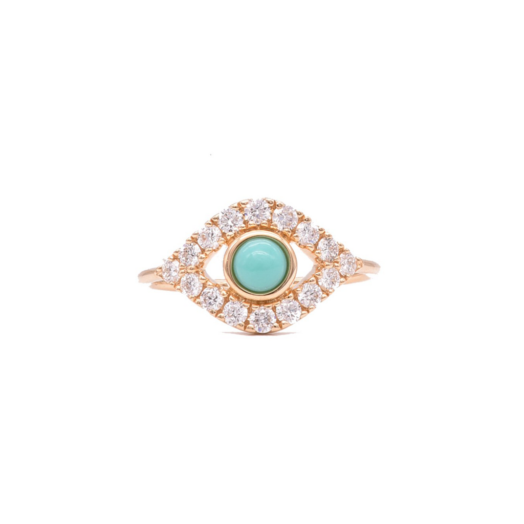 Evil Eye Ring with Turquoise - Lesley Ann Jewels