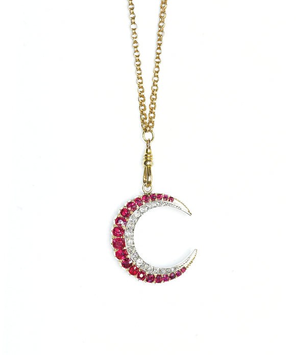 Vintage ruby and diamond crescent necklace