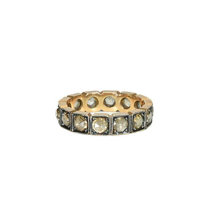 Rose gold champagne diamond eternity band - Lesley Ann Jewels