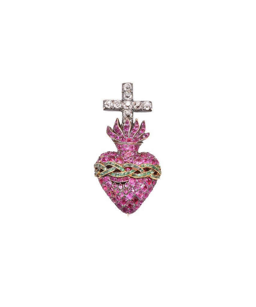 Extraordinary Antique Sacred Heart Pendant - Lesley Ann Jewels