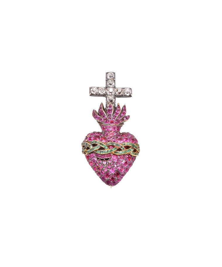 Extraordinary antique Sacred Heart brooch