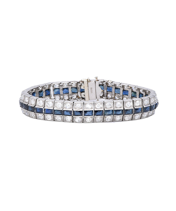 Antique Platinum Sapphire and Diamond Bracelet