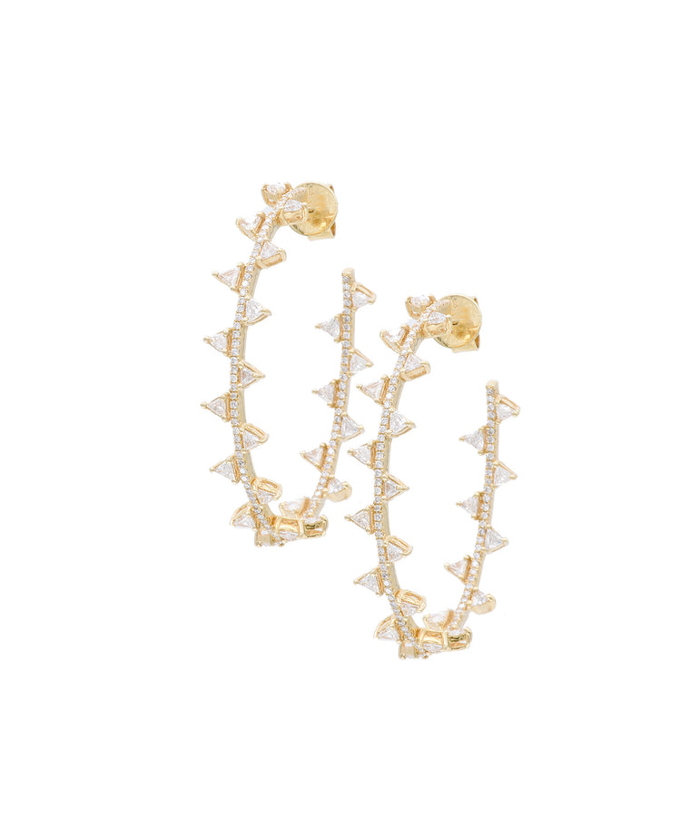 Zig Zag Diamond Hoop Earrings