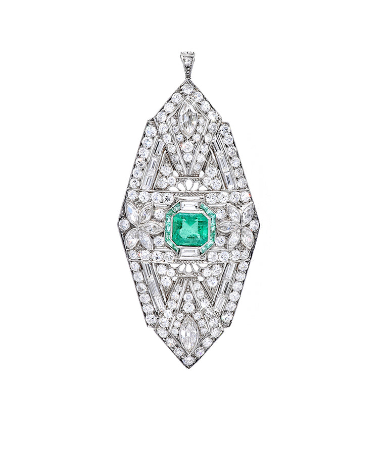 Art Deco Diamond and Emerald Pendant