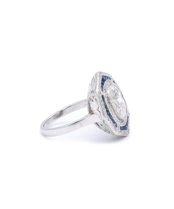 Antique Cushion Cut Diamond Ring with Sapphires