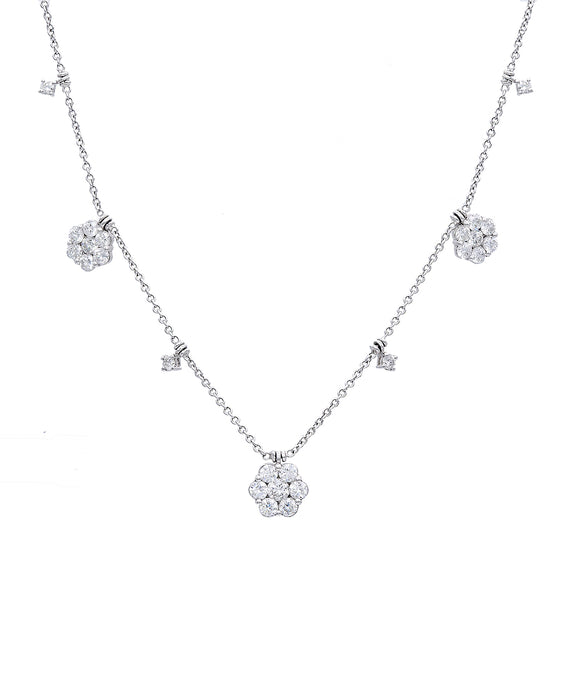 Diamond Flower Necklace - Lesley Ann Jewels