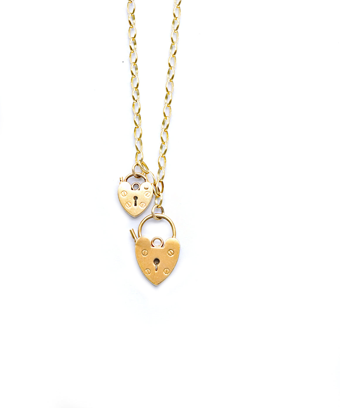Double-heart padlock necklace