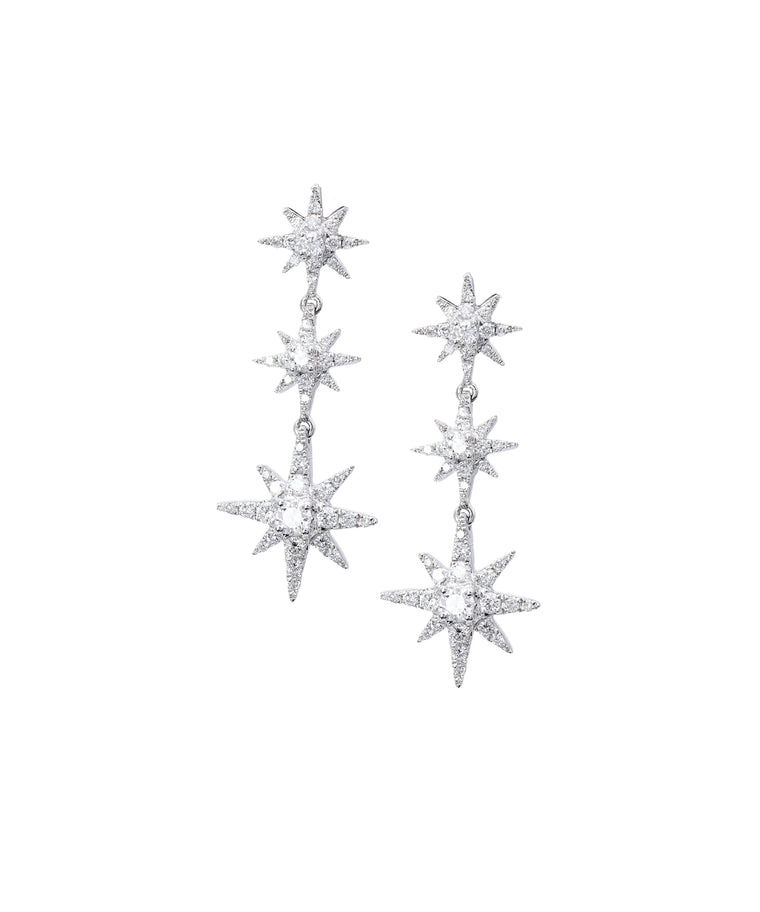 Diamond Star Drop Earrings
