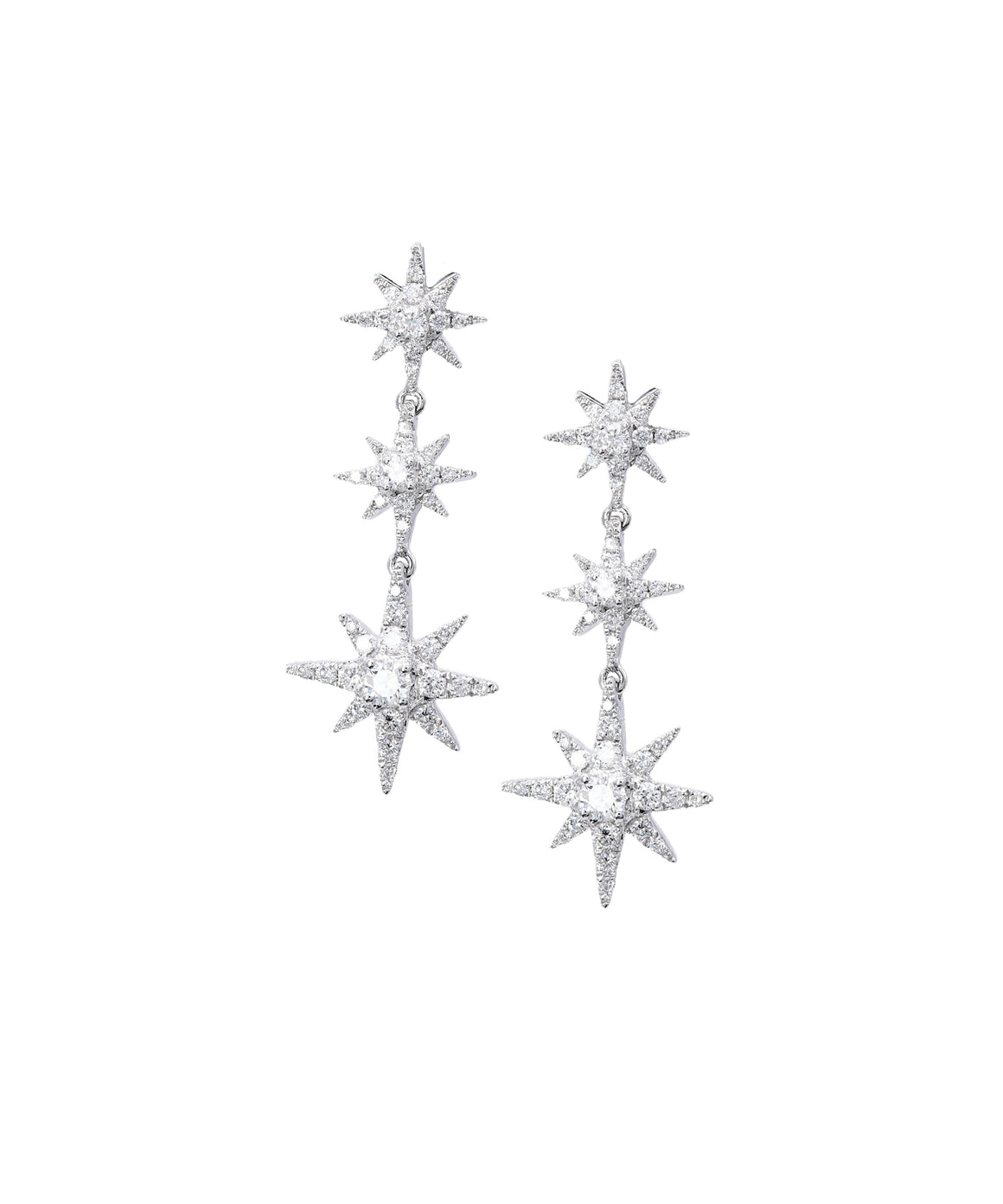 Diamond Star Drop Earrings - Lesley Ann Jewels