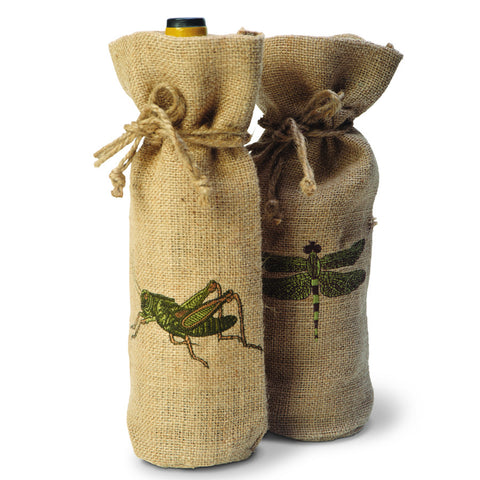Burlap Dragonfly Wine Bottle Holder