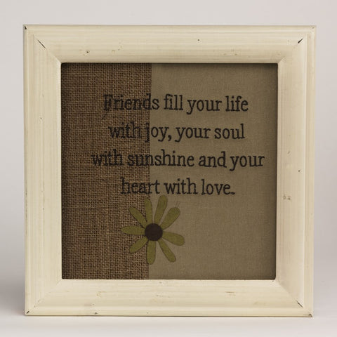 Friends Fill Your Life Burlap Stitchery