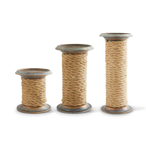 Set Of Three Rope Spool Candle Holders