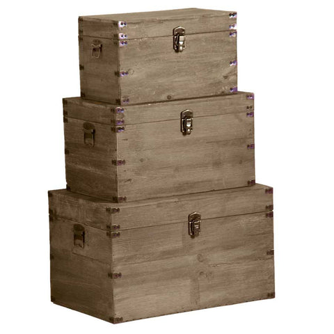 Set Of Three Wooden Nesting Boxes With Latches