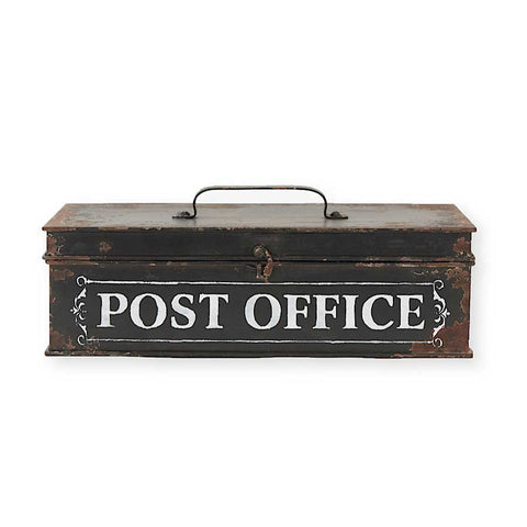 Rustic Black Metal Post Office Box
