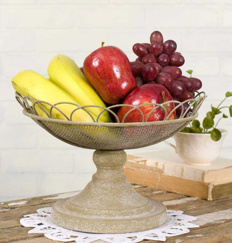 Farmhouse Scroll Mesh Compote Dish