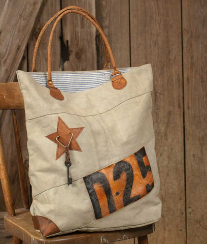 D-25 Canvas Tote Bag With Striped Lining