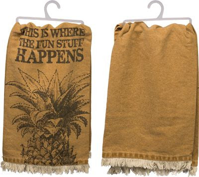 Fringed Where Fun Stuff Happens Dish Towel